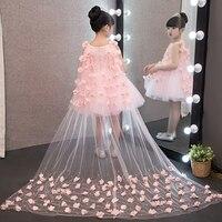 2019 New European Luxury Children Girls White Pink Red Princess Dress With Long Mesh Tail Korean Sweet Wedding Birthday Dress