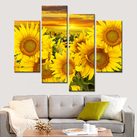 No Frame Wall Pictures for Living Room 4 Pieces Sunflower Oil Canvas Painting Scnery Pictures Posters and Pints Landscape