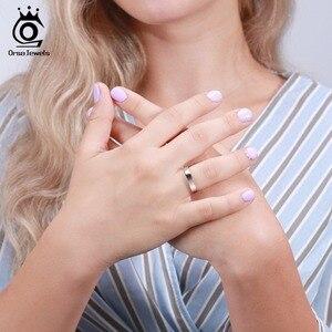 Image 5 - Orsa Ngọc Nữ Bạc 925 Nam Nữ Viền Cổ Điển Đơn Giản Phong Cách Đồng Bằng Vòng Kỷ Niệm Cặp Đôi Nhẫn Cưới Trang Sức SR73