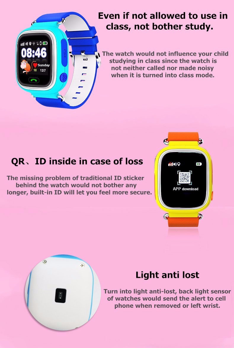 Child Smart Watch Q90 GPS LBS Positioning Children Smart Watch 1.22 Inch Touch Screen SOS Clock Tracker for Kid Safe Monitor#C1 15