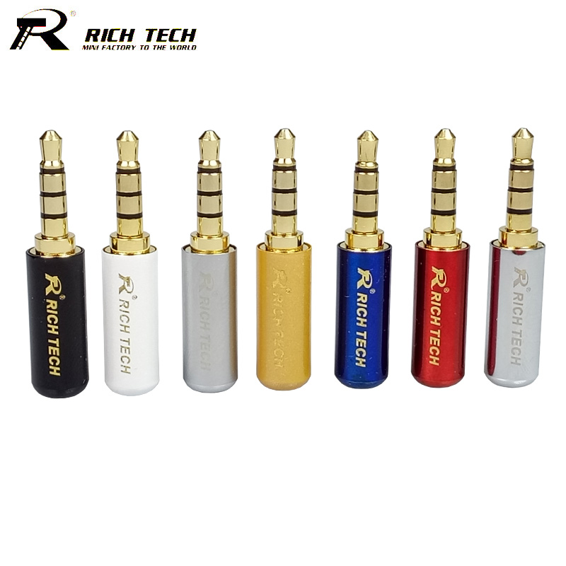 10pcs/lot 3.5mm Connector 4 Poles Stereo Audio Mini Jack 3.5mm Male Plug Gold Plated Audio Headphone Earphone Adapter 20pcs lot gold plated phone jack diameter 3 5mm 5 pin audio socket for 3 poles earphone plug smd type free shipping