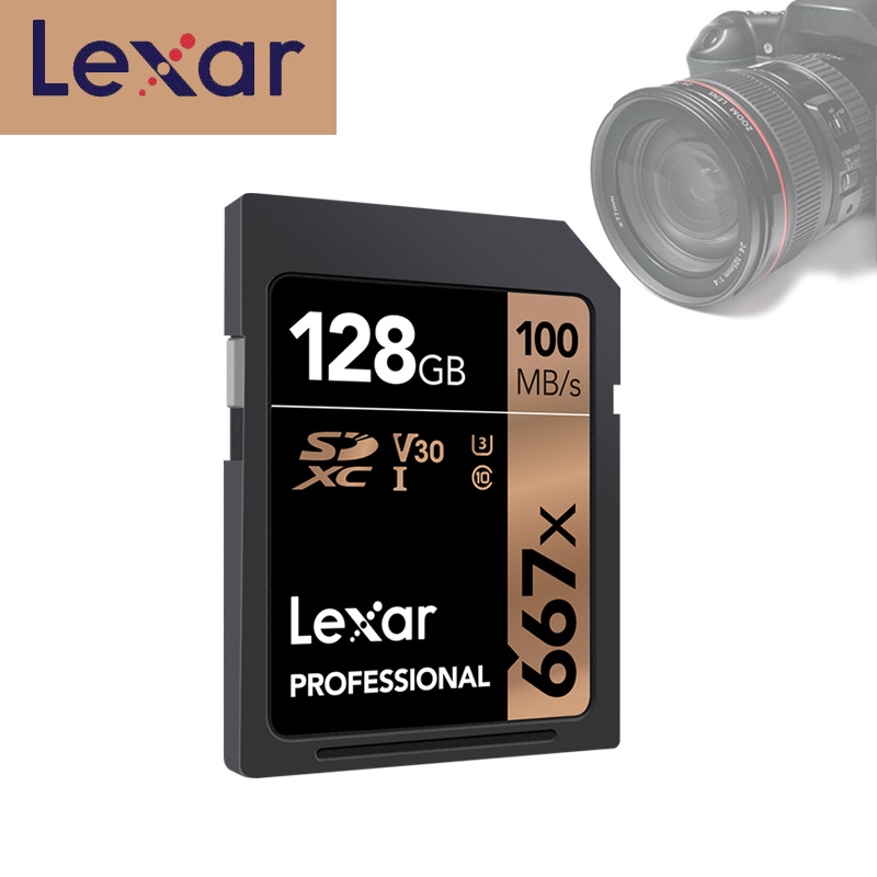 Original Lexar Professional SD Memory Card 667x 128GB U3 class 10 SDXC Flash Cards 100M/s For 1080p 4K Video Camera free shiping-in Memory Cards from Computer & Office