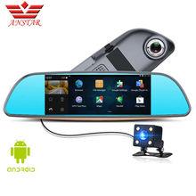ANSTAR 3g Автомобильный видеорегистратор Камера регистраторы 6,86 «видео зеркало заднего вида Двойной объектив Камера Парковочные системы 3 в 1 Авто регистраторы HD 1080 P