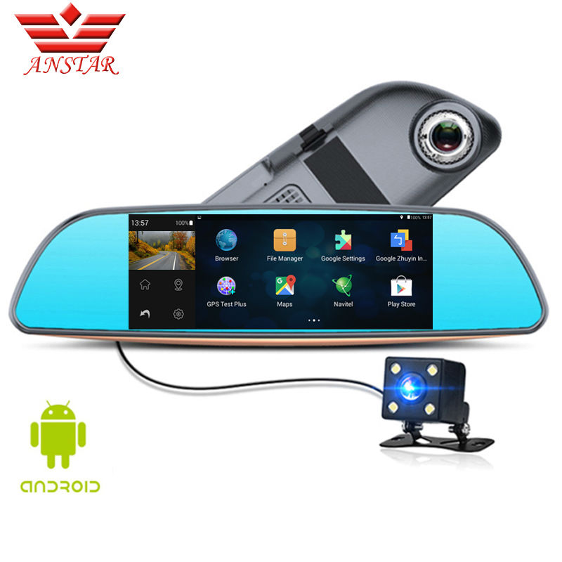 ANSTAR CAR DVR Camera Dash Cam 6.86 Video Rear View Mirror Dual Lens Camera Parking Assistance 3 in 1 Auto Recorder HD 1080P wifi dual lens 5 hd 1080p car dvr video recorder g sensor rearview mirror dash camera auto registrar rear view dvrs dash cam