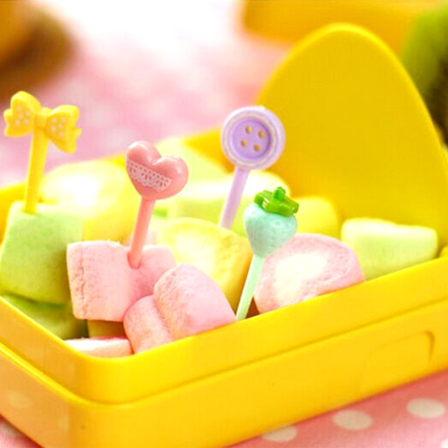 8Pcs/set Cute Cake Forks Candy Color Serie Button Bow Lunch Decoration Mini Fruit Snack Dessert Fork For Party Fruit Pick