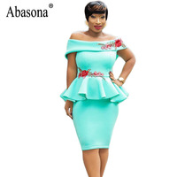 Abasona Women Ruffles Bodycon Dress Sexy Off Shoulder Embroidery Party Dresses Summer Casual Office Ladies Pencil