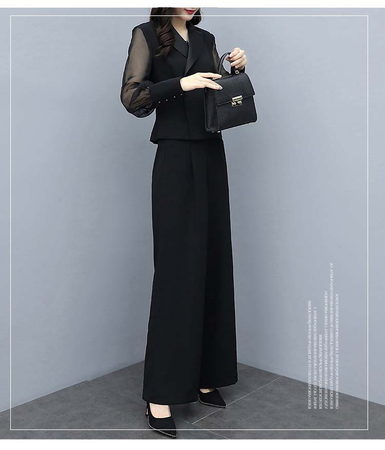 HTB1kGL9bXY7gK0jSZKzq6yikpXaL - Autumn Black Office Two Piece Sets Outfits Women Plus Size Long Sleeve Tops And Wide Leg Pants Korean Elegant Matching Suit