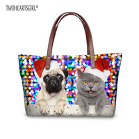 TWOHEARTSGIRL Women Handbags Cute Christmas Cat Dog Print Crossbody Bag Casual Female Ladies Shoulder Bag with Zipper Purse