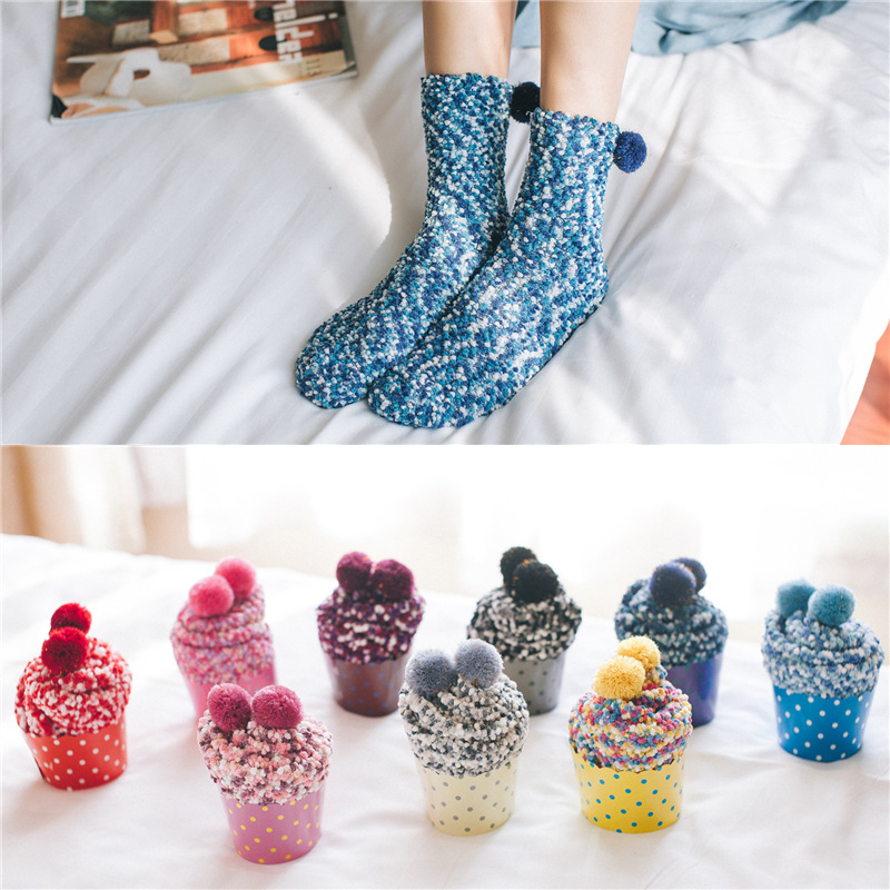 9 Colors New Winter Floor Funny Socks Coral Velvet Massage Bottom Women Socks Cake knitted Warm