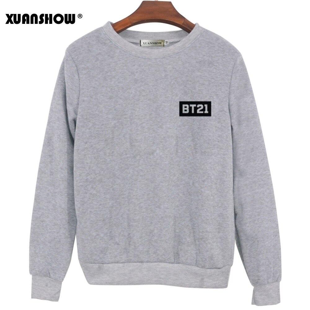 XUNASHOW 2019 nuevo BT21 sudadera para hombres las mujeres coreanas de manga larga BTS Kpop álbum ropa de dibujos animados de impresión cartas Tops S-5XL