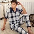 Los nuevos Mens Pantalones de Pijamas de Verano de manga Corta Pijama de Algodón A Cuadros ropa de Dormir de Salón de Los Hombres de Mediana Edad Pijamas Más El Tamaño 5XL