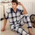 New Mens Pajamas Summer Short sleeve Pyjamas Trousers Cotton Plaid Middle-aged Sleepwear Men's Lounge Pajamas Sets Plus Size 5XL