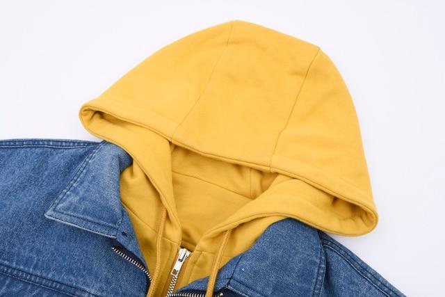A Sneak Peek Fall / Winter Fashion Denim Patchwork Hit Color Hooded 1