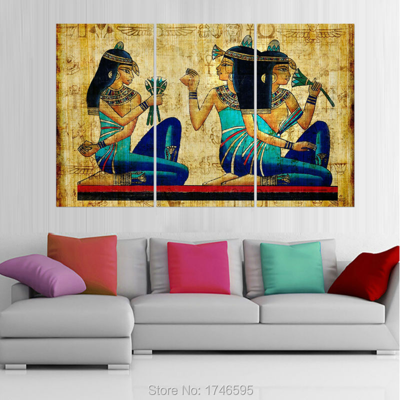 Big size modern living room home wall art decor abstract egyptian hieroglyphics papyrus wall art Contemporary wall art for living room