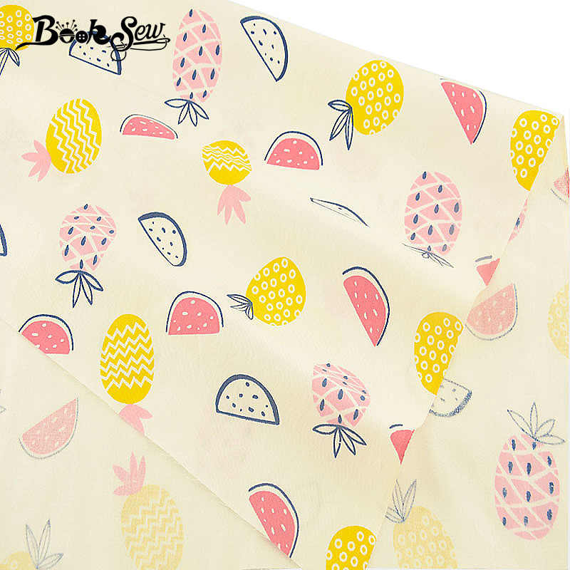 Booksew Cotton Twill Fabric Pink Fruit Design Sewing Cloth For Bedsheet DIY Craft Patchwork Quilting Home Textile Tecido Tissu