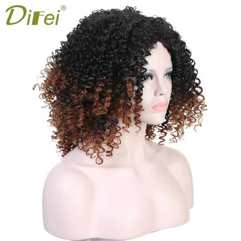 LIMPOPO 16 Inchs Black & Red Afro Kinky Curly Wigs for Black Women Synthetic Heat Resistant Bob Hair Women Wigs