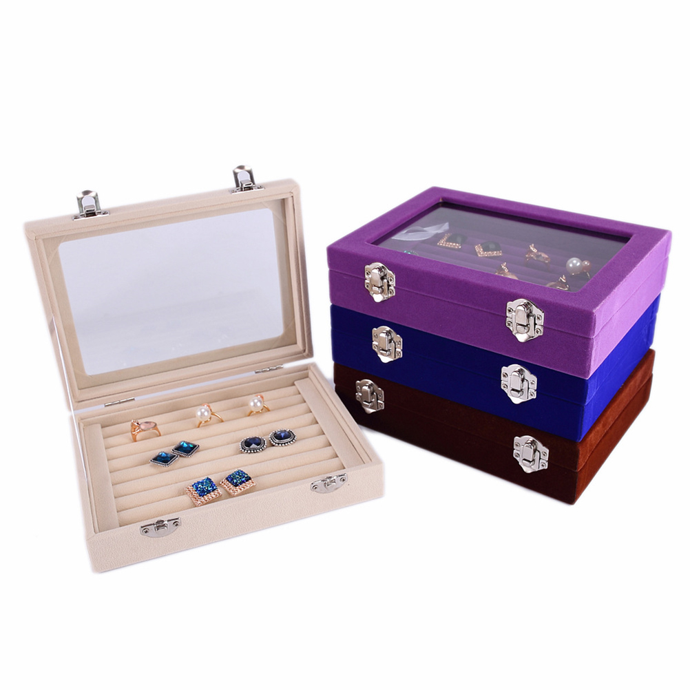 Clear Lid Jewelry Rings Earrings Tray Showcase Display Storage Box Organizer Gift for Girls and Women portable crocodile printing necklace jewelry storage box multi functional rings earrings organizer case for women gift