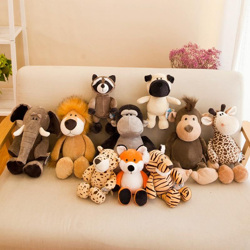 Cute Plush Animal Toy Fox Plush Raccoon Giraffe Orangutan Monkey Tiger Lion Elephant Dog Sweetheart Baby With Sleeping Gift 2019(China)