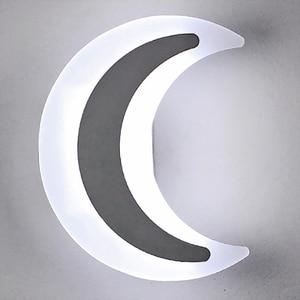 Image 4 - Modern Minimalist LED ay duvar lambaları oturma odası balkon merdiven koridor koridor yatak odası akrilik aydınlatma armatürü