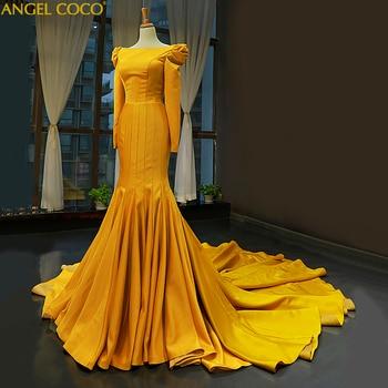0897d40694 2019 nuevo De satén amarillo musulmanes vestidos De noche Sexy De moda  Simple sirena Noche del