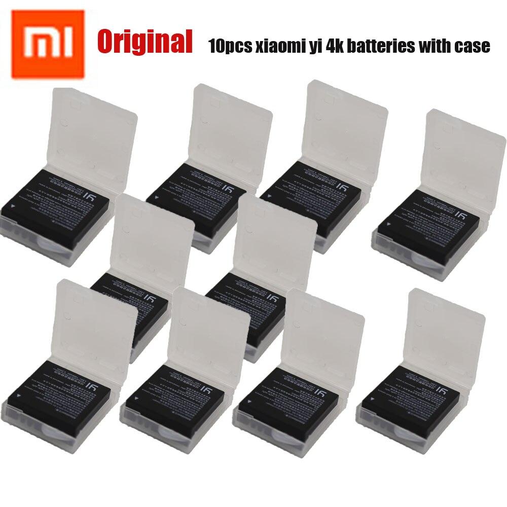 Original 10 pcs Xiaomi YI 4K Battery for Xiaomi YI 4K Camera Rechargeable 1400mAh Extra Battery for YI 4K Plus Action Camera xiaomi yi 4k action camera 2 ambarella a9se sony imx377 1400mah