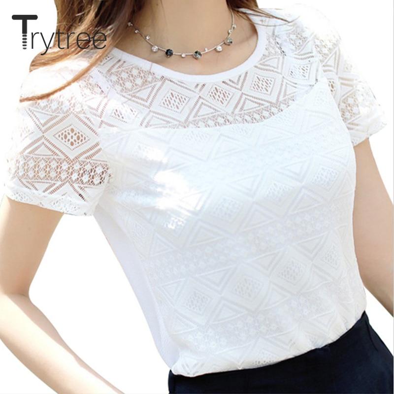 Women Lace Blouse Femme Tops Chiffon Shirt Spring Summer Short Sleeve Blusa Feminina Hollow Women Top Shirt Blouse Plus Size