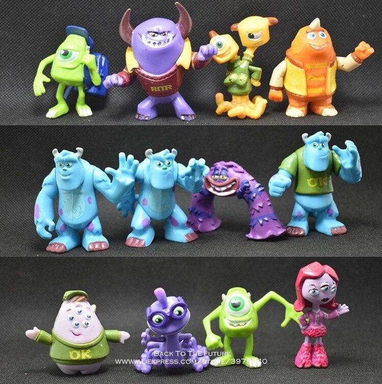 Disney Monstros University Mike Wazowski James P. Sullivan 3-5cm 12 pçs/set Action Figure Anime Mini Coleção Estatueta modelo Toy