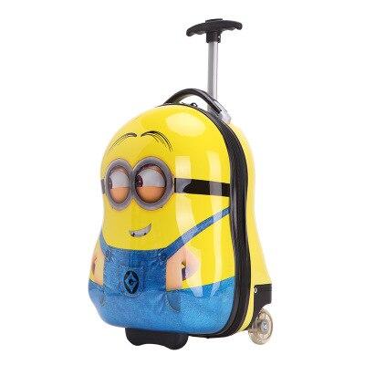 Yellow Enfants Valises 3d De Minions Voyage Sac Pour Bande Les Bagages Chariot Dessinée X4147qxg