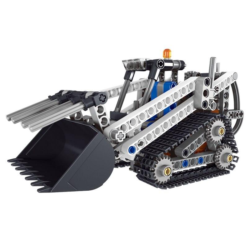 все цены на New Educational Lepins Toys Gift 252Pcs Mini Loader Building Blocks ABS Loader Construction Vehicle Car Model Toy for Kids онлайн