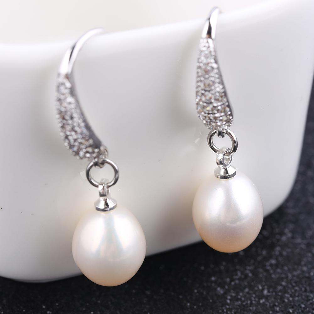 reidgaller 2019 Women fashion new oval freshwater pearl crystal rhinestone simple dangle earrings aretes de moda