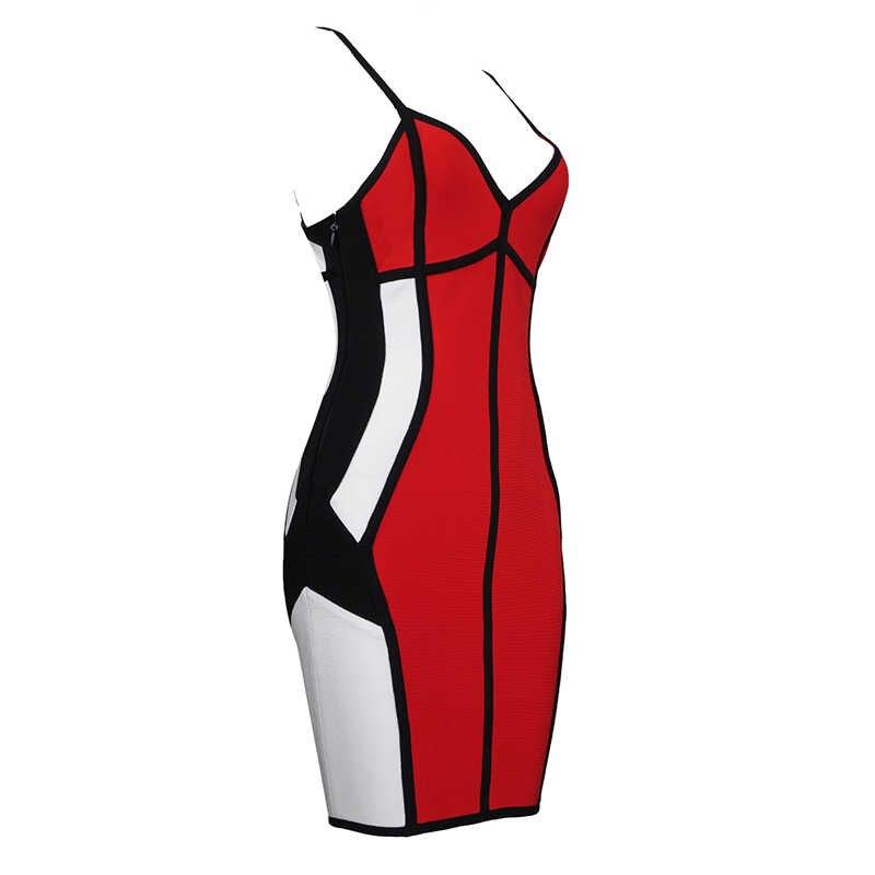 2019 new Red branco preto colorblocked sling bandage vestido Sexy Vestido de Festa à noite Bodycon roupa das mulheres por atacado + terno