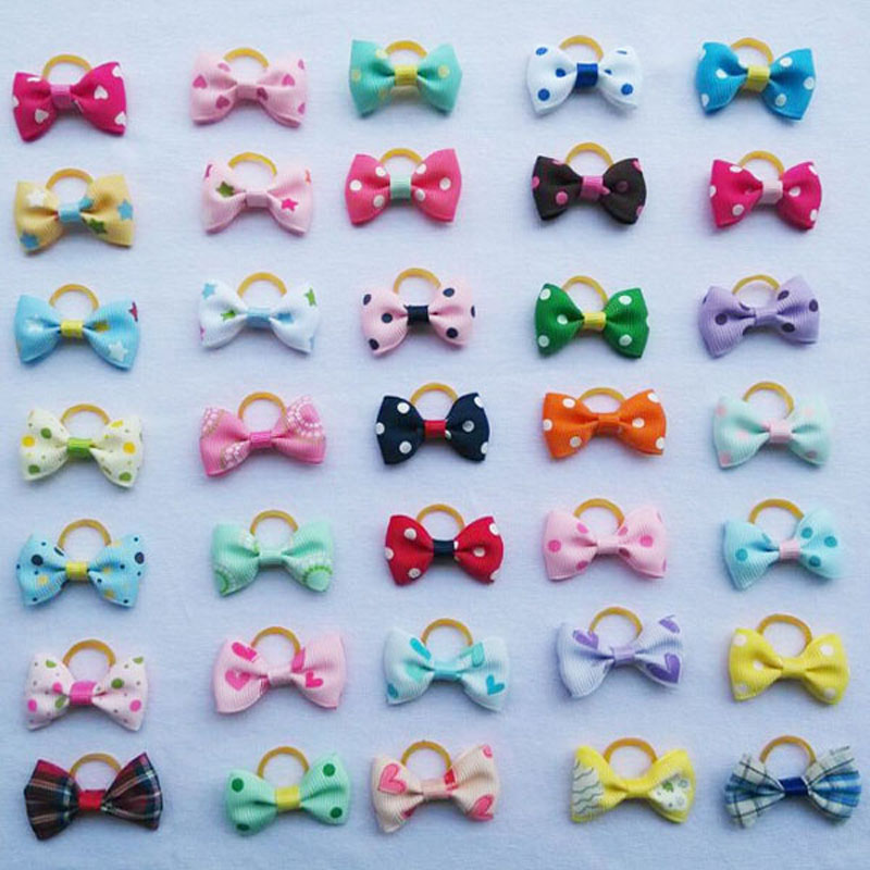20 pieces lot Cute font b Pet b font Grooming Clips Hand made Ribbon Dog