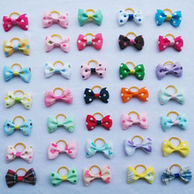 (20 pieces/lot) Cute Pet Grooming Clips Hand-made Ribbon Dog Cat Hair Bows Dots Plaid Printed Pet Hair Accessories 35 Colors