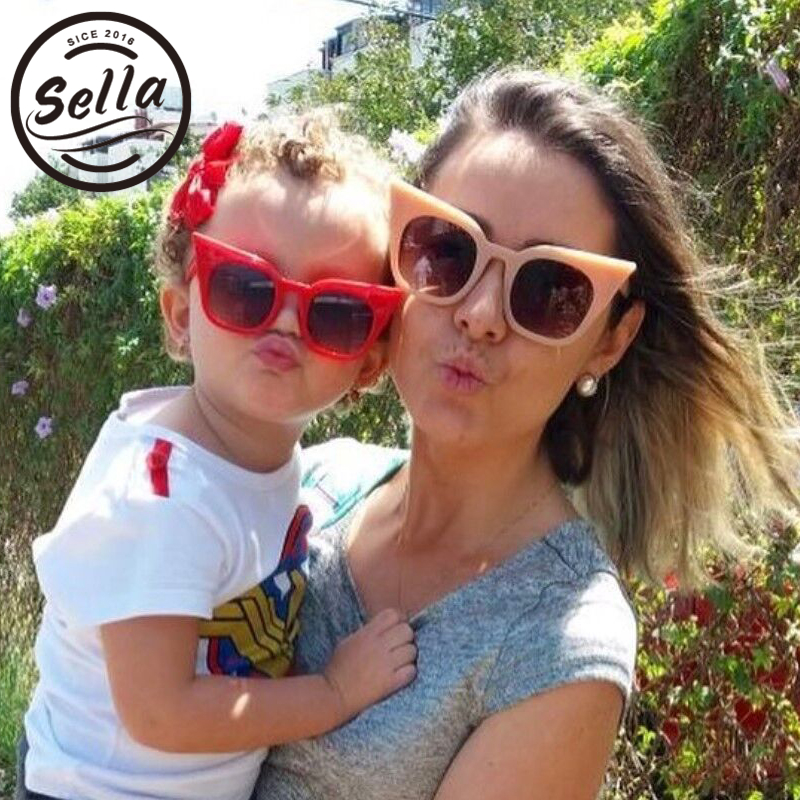 Sella New Arrival Fashion Women Oversized Cateye Sunglasses Parent-child Models Mommy-Baby Colorful Girls Summer Eyewear Glasses