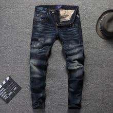 Винтажные Дизайнерские мужские джинсы, высокое качество, облегающие хлопковые джинсовые штаны, рваные джинсы для мужчин, дикие классические джинсы homme, размер 28-38
