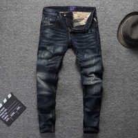 Vintage Designer Männer Jeans Hohe Qualität Slim Fit Baumwolle Denim Hosen Zerrissenen Jeans Für Männer Wilden Klassische Jeans homme Größe 28-38