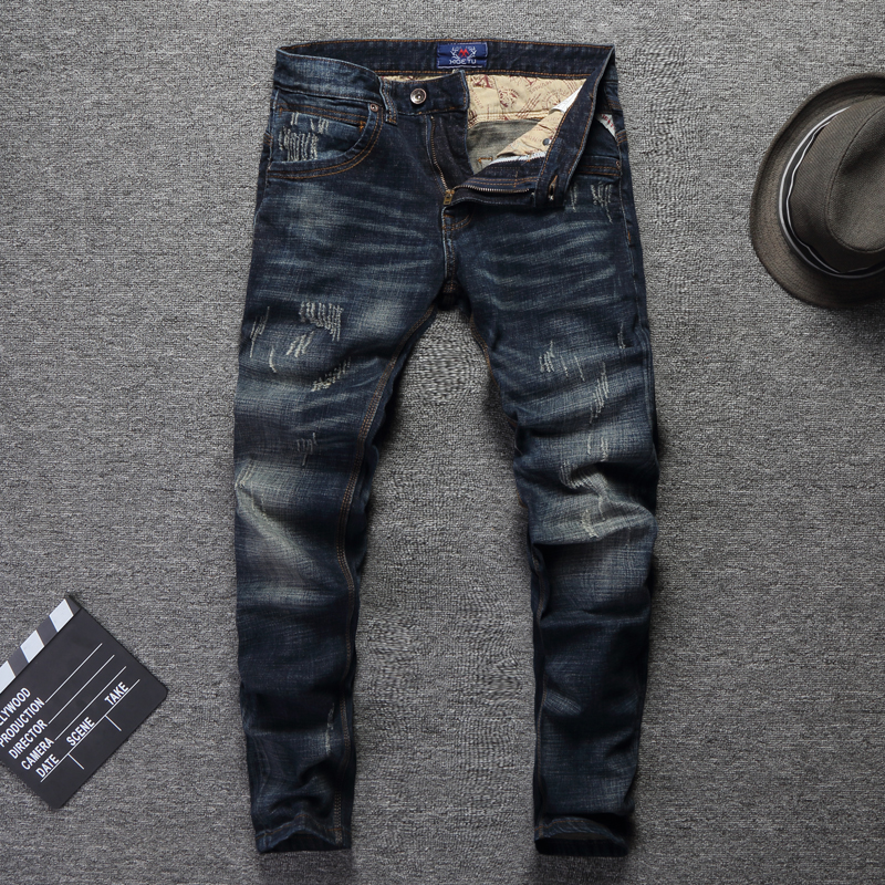 Vintage Designer Men Jeans High Quality Slim Fit Cotton Denim Pants Ripped Jeans For Men Wild Classical Jeans Homme Size 28-38