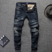 Vintage Designer Men Jeans High Quality Slim Fit Cotton Denim Pants Ripped
