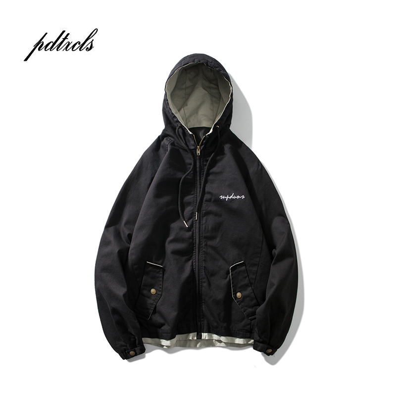 Sinicism Store Man Windbreaker 2019 Mens Funny Print Pocket Black Bomber Jacket Male Streetwear Fall Japanese