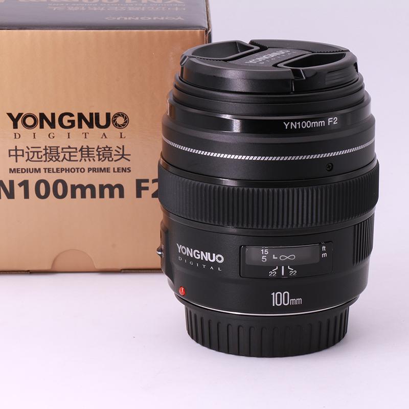 Prix pour En Stock! YONGNUO YN100mm F2 AF Grande Ouverture Auto Focus Lens pour Canon EOS DSLR Caméras, Moyen Téléobjectif Premier 100mm F2 lentille