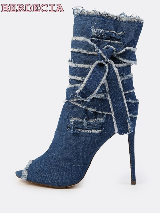 top selling dark blue destroyed denim mid calf boots lace up bow tie wrap booties sexy open toe stiletto heel shoes fashion girl exaggerate bow tie neck ruffle trim top