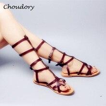 Choudory Fashion Sandalias Mujer Flat Woman Flip Flop Knee High Sandals Summer Hot Sales Open Toe Studded Rivet Gladiator Shoes