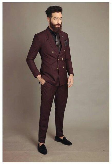 Latest Coat Pant Designs Burgundy Men Suit Double Breasted Slim Fit