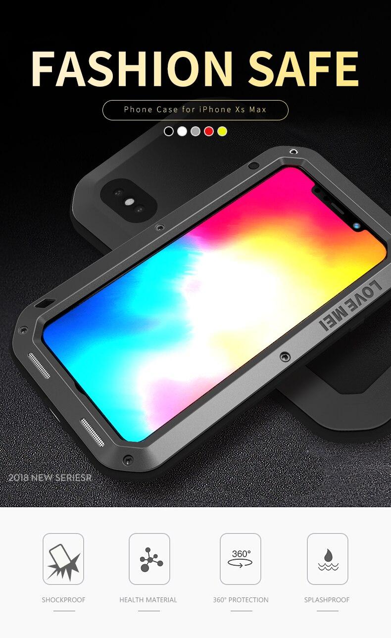 Pour iphone XR XS Max étui étanche iphone XR dur antichoc en aluminium couvercle en métal pour iphone XR Protection complète coque de téléphone