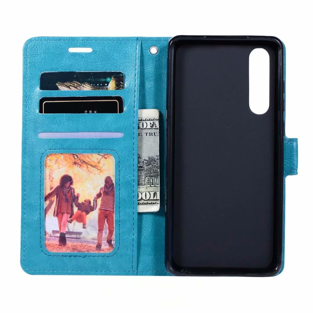 100pcs lot Soft TPU PU Leather Crazy Horse Wallet Case for Huawei P smart PLUS 2019