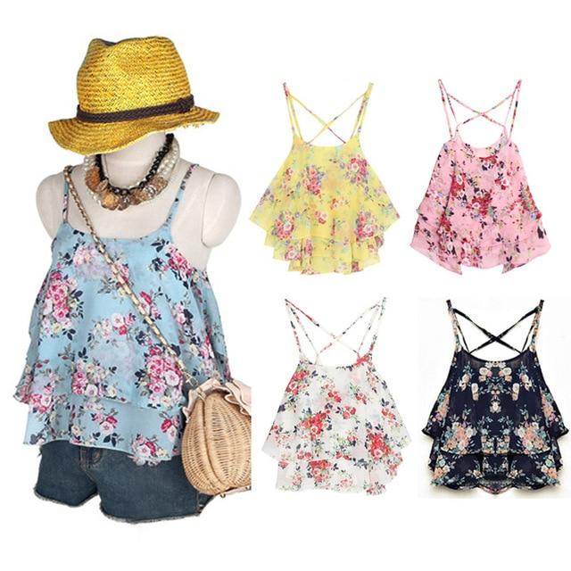 Women Summer Tops Shirts Beach Wear Strap Bikini Cover Ups Women Tank Top Candy Color Double Layer Chiffon Shirts For Ladies