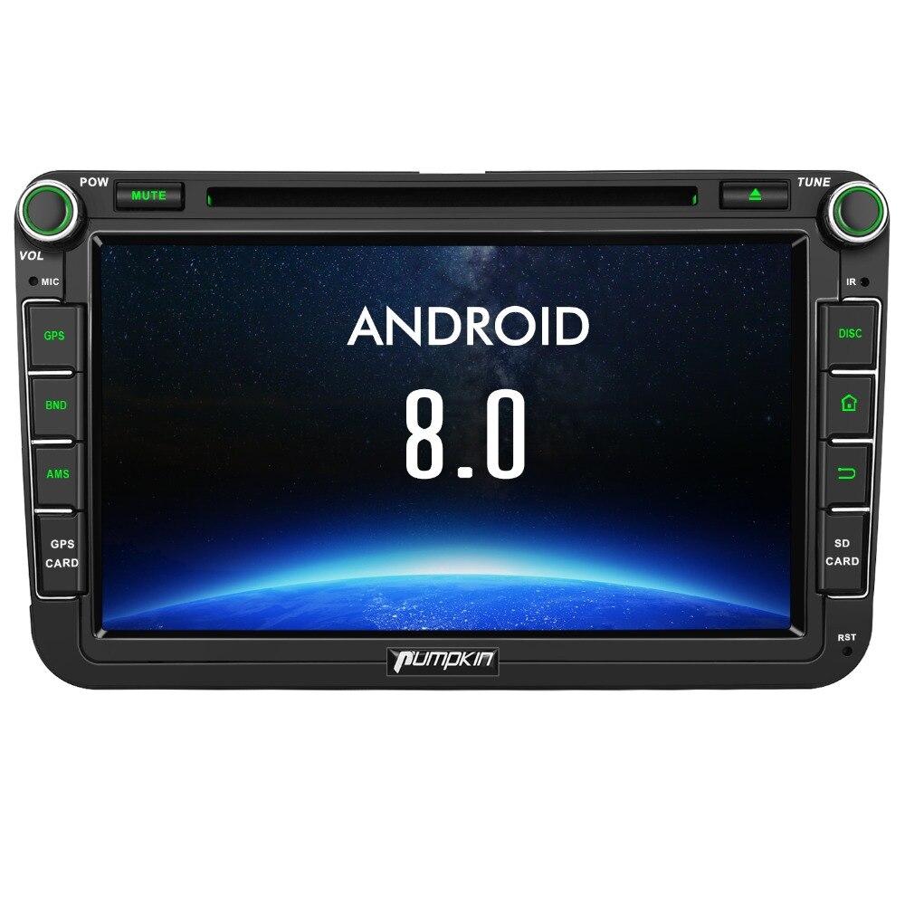 Citrouille 2 Din 8 ''Android 8.0 Autoradio Lecteur DVD GPS Navigation Pour VW/Skoda/Seat/ golf Voiture DVR 4 gb RAM Wifi 4g FM Radio Stéréo