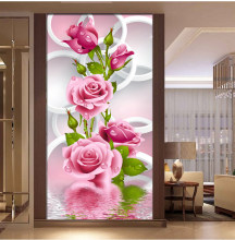 Diamond Embroidery Rose Flowers Diamond Painting Cross Stitch Round Rhinestone Mosaic Unfinished Home Decoration Gift(China)