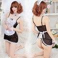 Tentación atractiva de una sola para mujer ropa interior de la muñeca hermoso encaje Floral Maid Cosplay camisones Intimates eróticos Lolita Slips