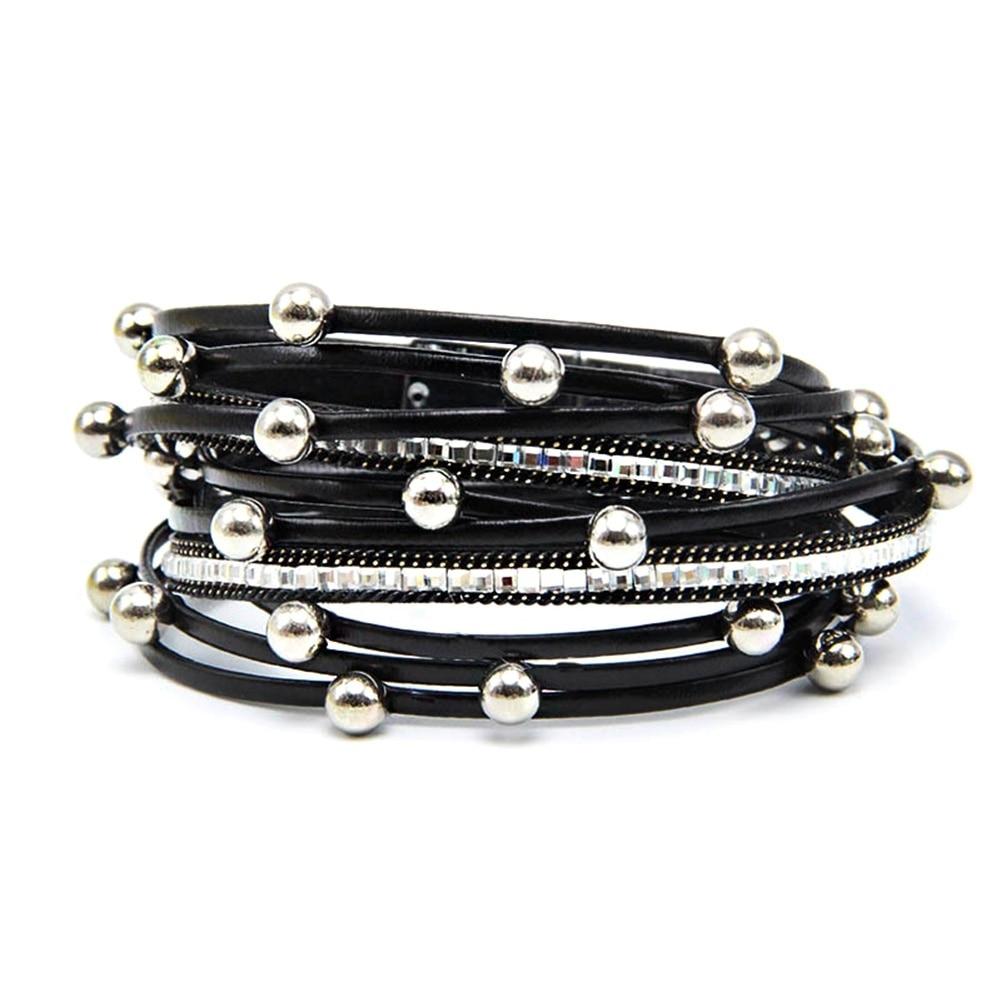 1 St Wrap Lederen Bangle Charm Lederen Armband Met Gesimuleerde Parel 2 Layer Vrouwen Sieraden Gift